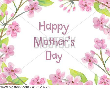 Frame With Text. Greeting Card For Moms Day. Greeting Card With Cherry Flowers. Place For Your Text.