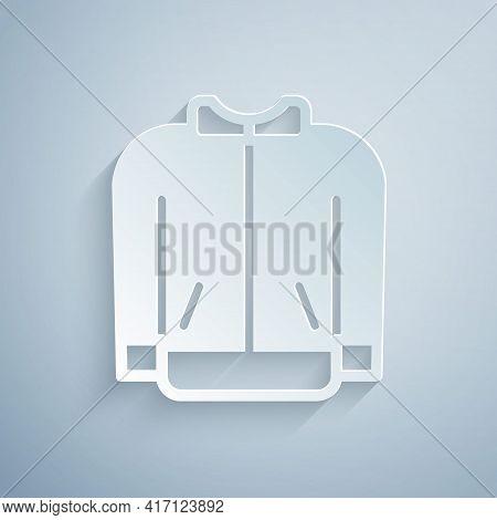 Paper Cut Baseball T-shirt Icon Isolated On Grey Background. Baseball Jersey, Sport Uniform, Raglan