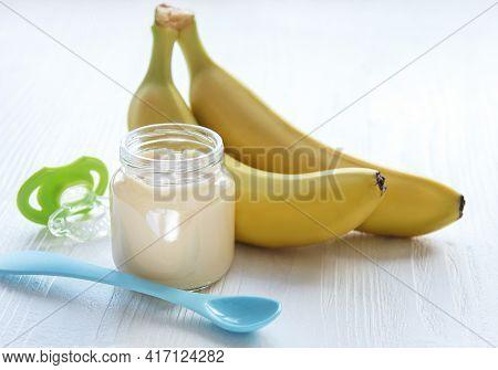 Jar Of Banana Puree,  And Bananas