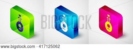 Isometric Musical Instrument Lute Icon Isolated On Grey Background. Arabic, Oriental, Greek Music In