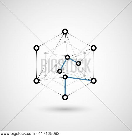 Hexagons Genetic, Science, Chemical Carcass. Vector Connection And Social Network. Concept With Line