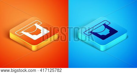 Isometric Atm - Automated Teller Machine And Money Icon Isolated On Orange And Blue Background. Vect