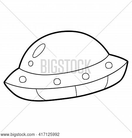 Vector Illustration Coloring Page With Cartoon Ufo For Children, Coloring And Scrap Book, Printable
