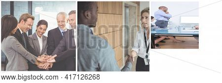 Business people discussing in meeting room at creative office. people shaking hands in the meeting room