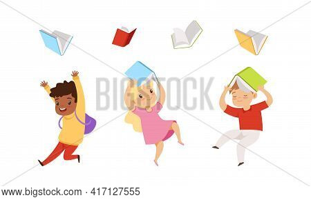 Cute Kids Jumping With Joy And Throwing Books Up In The Air Vector Set