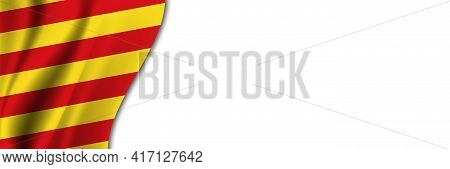 Catalonia Flag On White Background. White Background With Place For Text Near The Flag Of Catalonia.