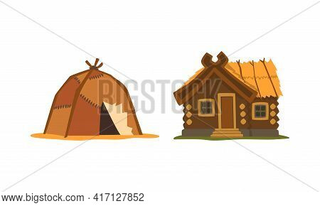 Different House Or Dwelling From Around The World Vector Set