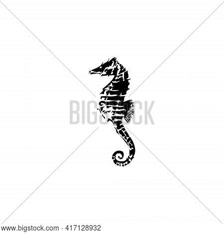 Black Sea Horse Illustration For Icon, Symbol Or Logo