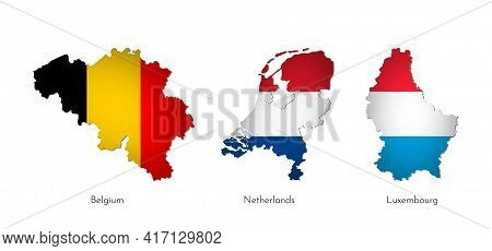 Vector Illustration Set With Isolated Silhouettes Of Benelux Union Map Simplified Shapes . National
