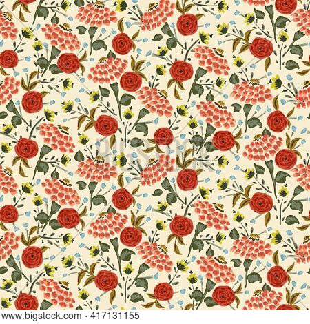 Retro Magic Floral Mix Seamless Vector Pattern. A Mix Of Painted Flowers In Retro Colors - Orange, R