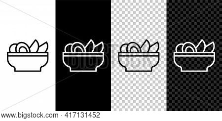 Set Line Nachos In Plate Icon Isolated On Black And White, Transparent Background. Tortilla Chips Or