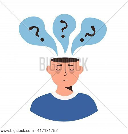 Sad Man With Nervous Problem Feel Depressed With Question Mark In Bubble Above Head Vector Illustrat