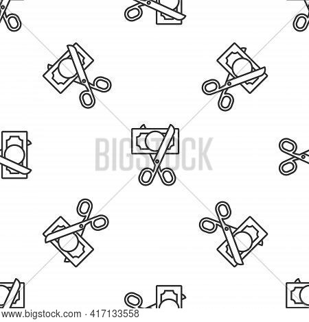 Grey Line Scissors Cutting Money Icon Isolated Seamless Pattern On White Background. Price, Cost Red