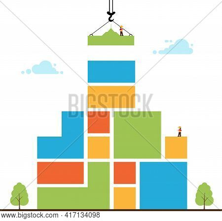 Tower Crane Made Of Colored Blocks Builds Home.