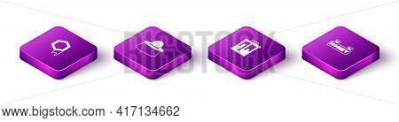 Set Isometric Honeycomb, Beekeeper With Protect Hat, And Hanging Sign Honeycomb Icon. Vector