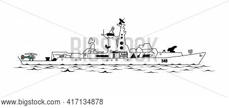 This Is A Warship Destroyer At Sea To Protect The Borders