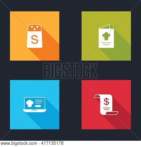 Set Salt, Cookbook, Online Ordering And Delivery And Paper Financial Check Icon. Vector