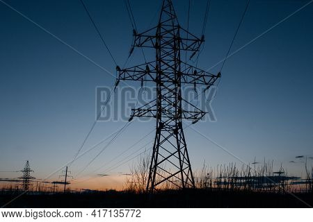 High-voltage Wires On The Background Of A Beautif