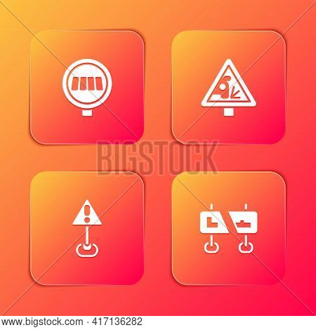 Set Pedestrian Crosswalk, Warning Road Sign, Exclamation Mark Triangle And Road Traffic Icon. Vector