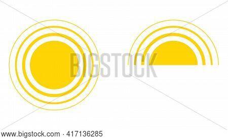 Yellow Sun Icon, Sunshine Full And Sunrise Or Sunset. Decorative Circle Sun And Sunlight. Hot Solar