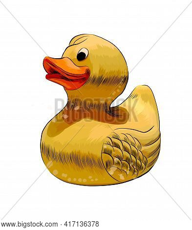 Yellow Duck Toy. Inflatable Duck From A Splash Of Watercolor, Colored Drawing, Realistic. Vector Ill