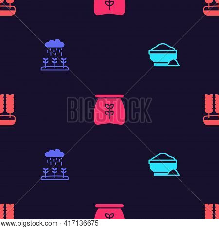 Set Flour Bowl, Plant Sprouts Grow In The Rain, Bag Of Flour And Wheat On Seamless Pattern. Vector