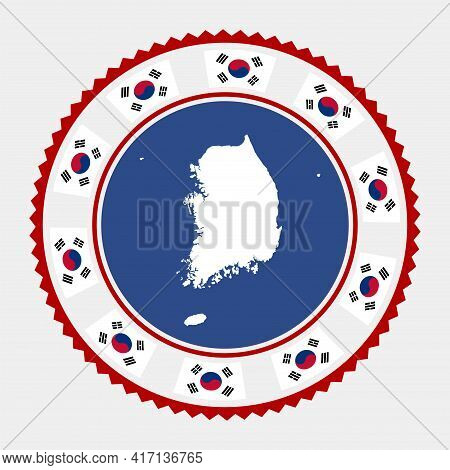 South Korea Flat Stamp. Round Logo With Map And Flag Of South Korea. Vector Illustration.