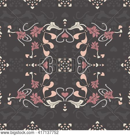 Seamless Pattern Floral With Lily Flowers And Hearts. Dark Gray, Pink, Cream Ivory And Pastel Orange