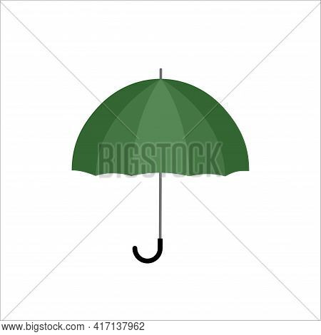 Green Outdoor Umbrella With Black Handle On White Background