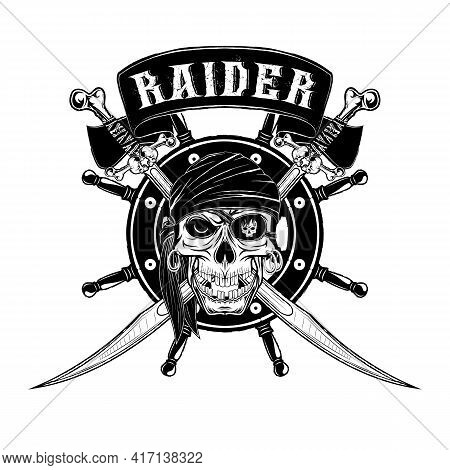 Vector Illustration Of A Pirate Skull In A Bandana And An Eye Patch. Crossed Sabres And Steering Whe