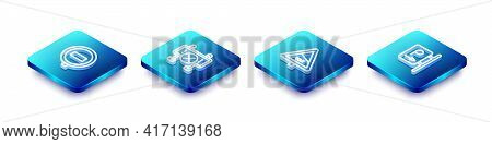 Set Isometric Line Stop Sign, Road Barrier, Steep Ascent And Descent Road And Parking Icon. Vector
