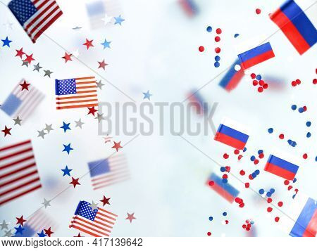 Russia Vs United States, America And Sanctions Against The Russians. Prohibition, Confrontation.