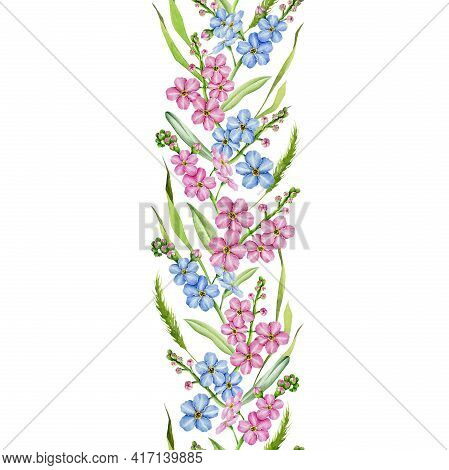 Forget-me-not Flowers Seamless Border. Watercolor Illustration. Summer Tender Blue And Pink Flower E