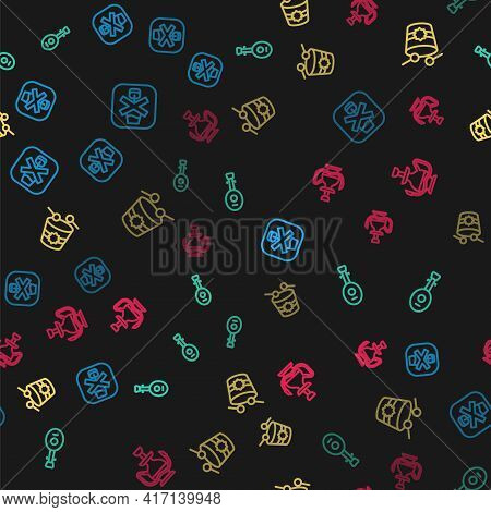 Set Line No Alcohol, Lute, Ramadan Drum And Hookah On Seamless Pattern. Vector