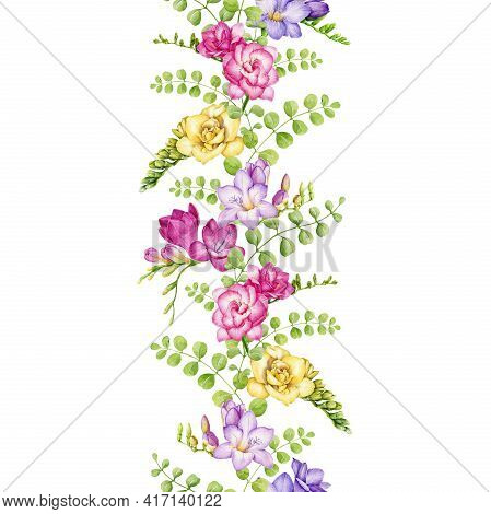 Freesia Flower Seamless Border. Tender Pink, Violet, Yellow Spring Blossoms. Endless Decration Flora