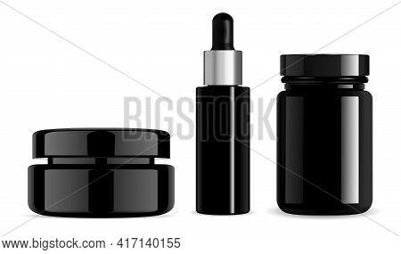 Black Cosmetic Bottle, Cream Jar, Serum Dropper, Pill Bottle. Gloss Glass Beauty Package, Vector Fac