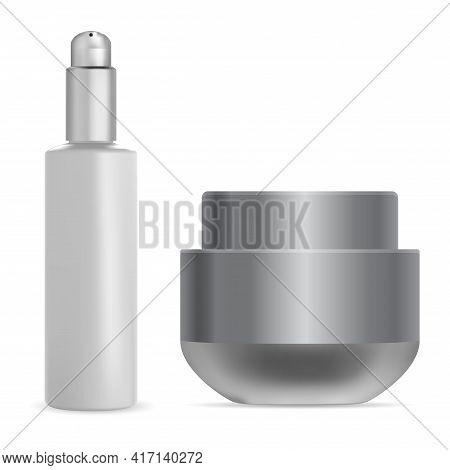 Cream Jar. Face Serum Pump Bottle. Scrub Container Mockup. Face Skin Powder, Beauty Package. Luxury