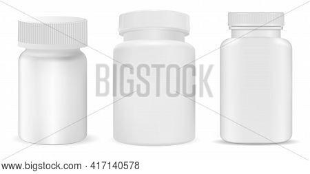 White Plastic Pill Bottle Mockup, Supplement Jar, Vitamin Package Isolated On White Background. Phar