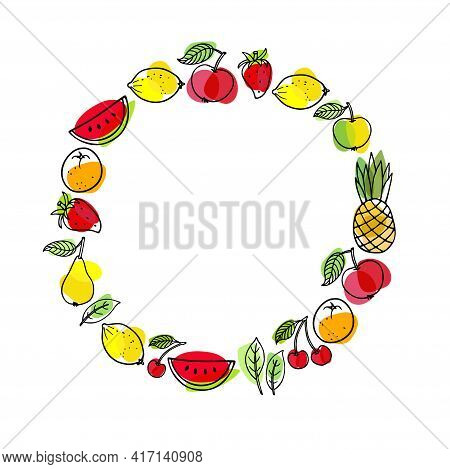 Fruit Frame. Round Seasonal Fruit Border. Watermelon, Pineapple, Strawberry, Lemon, Orange Fruit, Ch