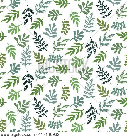 Floral Green Leafs Botany Seamless Vector Pattern