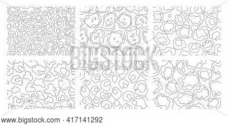 Collection Of Leopard Textures. Coloring Style. Seamless Prints With Wild Animal Skin. Leopard Or Ch