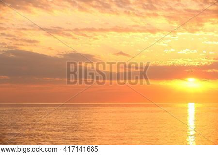 Picturesque View Of Beautiful Seascape On Sunrise