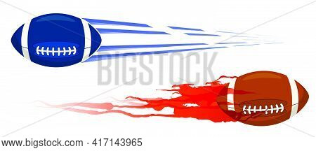 Fast American Football Ball Flies With Great Speed Fired Like Bullet. Sport Equipment. Vector