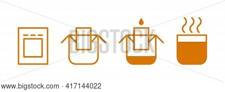 Drip Bag Coffee Brewing Instruction Icons Set. Step By Step Cooking Instruction Isolated