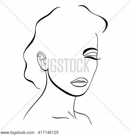 Trendy Fashion Contour Drawing Lineart Portrait Of A Beautiful Girl . Abstract Face, Beauty, Minimal