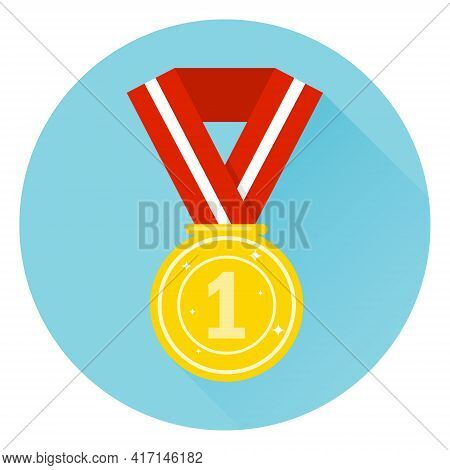 Sports Medal, Sports Award. Vector, Cartoon Illustration. Vector.