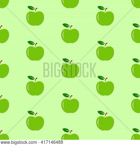 Green Apples With Green Leaves On Light Green Background, Seamless Pattern