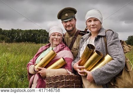 The Russian Civil War. Soldiers Of The White Army And Peasant Women Before The Battle Before The Bat