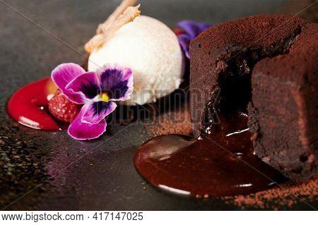 Liquid Chocolate In Brownie Dessert