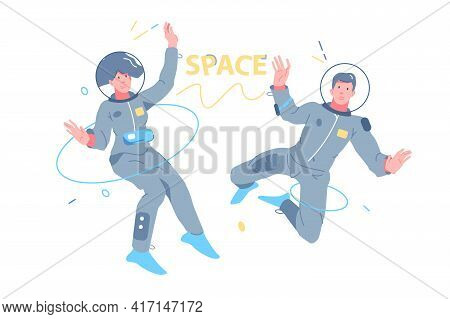 Man And Woman Astronauts Exploring Outer Space Vector Illustration. People In Spacesuit Fly In Space